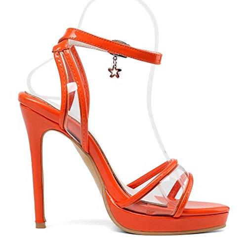 Donne Cinturino Moda Tacchi A Orange Sandali Zanpa Open Spillo Toe PdOxUdFq8n