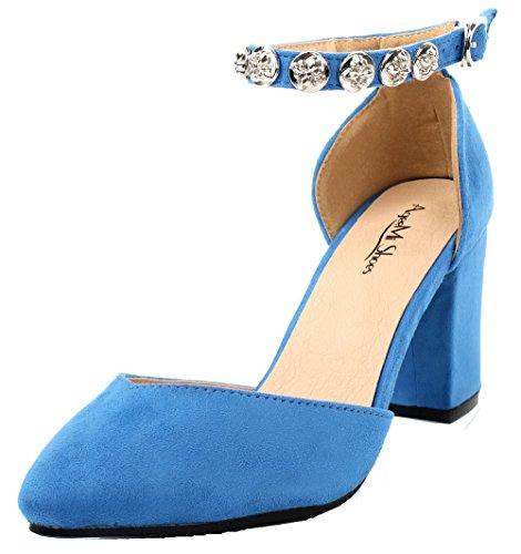 AgeeMi Shoes Damen Spitz Zehe Blockabsatz mit Schnalle Knöchelriemen Pumps Hellblau