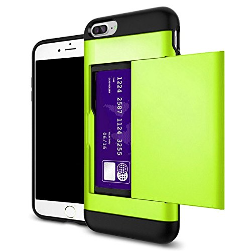 Shockproof Wallet Credit Card Pocket Holder Case Cover For iPhone X 8 7 6s Plus (Neon Green, iPhone X) (4 Iphone Green Neon Case)