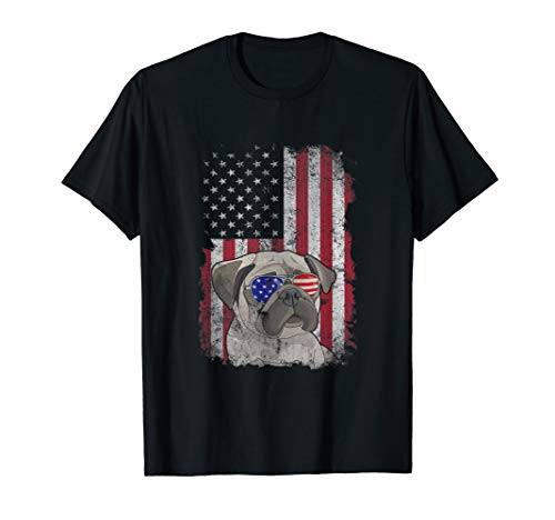 4th of July Pug Sunglasses American Flag Patriotic Gift T-Shirt -