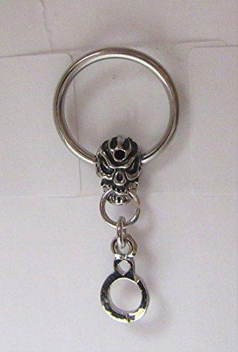 Surgical Steel Skull Handcuff Dangle Hoop Ring 14 Gauge 14g 10 mm