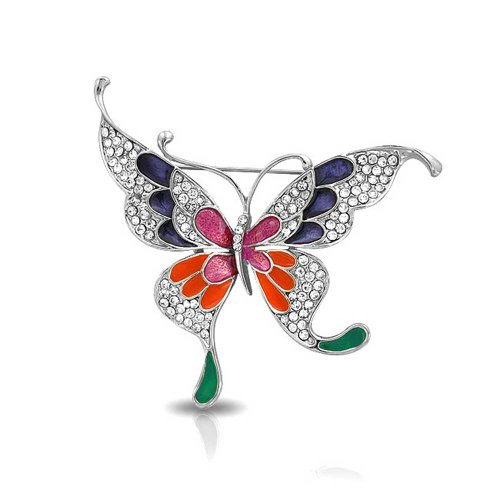 Multi Color Butterfly Brooch (Bling Jewelry Gold Plated Multi Color Enamel Crystal Butterfly Brooch Pin)