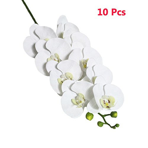 (Calcifer 10 Pcs 35.43'' Artificial Real Touch Latex Phalaenopsis Orchid Stem Bouquets Artificial Flowers for Wedding Party Home Garden Decor (White))