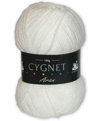 Cygnet C600/208 | White 100% Acrylic Aran Yarn/Knitting Wool | 100g Cygnet Yarns