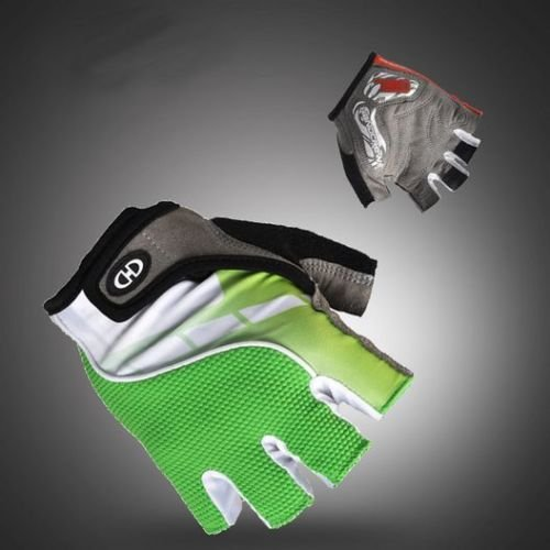Green Cycling Bike Bicycle Shockproof Hexagon 3D GEL Sports Half Finger Glove XL