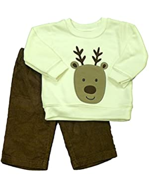 Carters Infant Boys Reindeer Outfit Christmas Sweatshirt & Corduroy Pants Set
