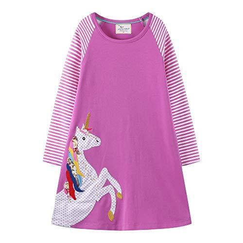 VIKITA Toddler Girl Loose Cotton Long Sleeve Dress Baby Girls Winter Casual Dresses 1-8 Years JM7770, 6T