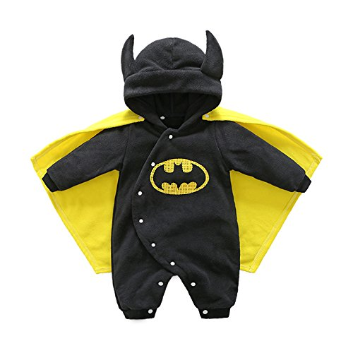 Baby Halloween Costumes Pumpkin Hooded Bat Man Romper Cute Jumpsuit