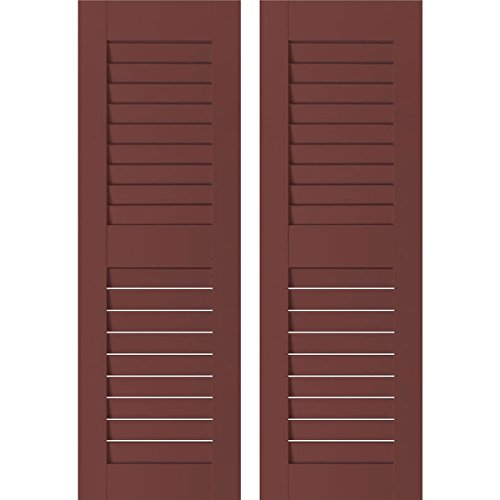 Ekena Millwork RWL12X032CRP Exterior Real Wood Pine Louvered Shutters (Per Pair), 12