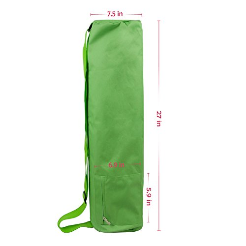 Full Zip Large Yoga Mat Bag With Side Pocket And Cinch Top