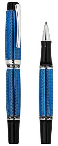 Xezo Maestro LeGrand Diamond Cut, Lacquered, Platinum Plated Fine Rollerball Pen in Tanzanite Color by Xezo Pens