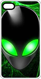 Fluorescent Green Eyed Black Alien White Plastic Case for Apple iPhone 6