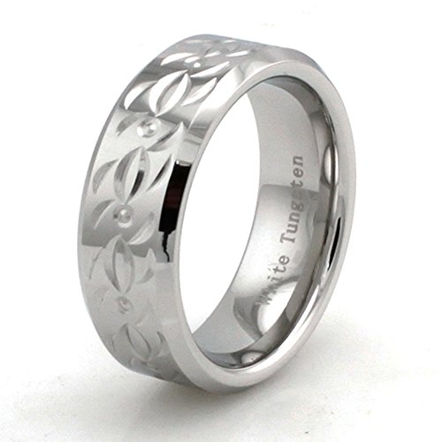 - West Coast Jewelry Hand Carved Polished White Tungsten Ring w/Tribal Design - Size 12