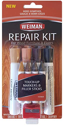 (Weiman Wood Repair System Kit - 4 Filler Sticks 4 Touch Up Markers - Floor and Furniture Scratch Fix)