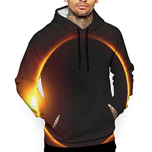 (Solar Eclipse Man's Hooded Sweatshirt Hoodie Long Sleeve Pullover Sweatshirt with Pockets 33)