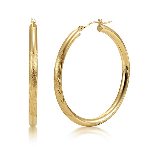 Satin Diamond Cut 14k Yellow Gold 3mm x 40mm Click Top Tube Hoop Earrings - By Kezef Creations 14k Yellow Gold Satin Hoop