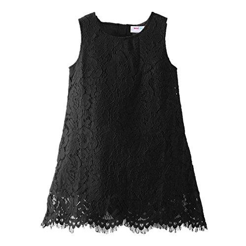 LittleSpring Toddler Girls Lace Dress Holiday Dress Sleeveless Black 2T