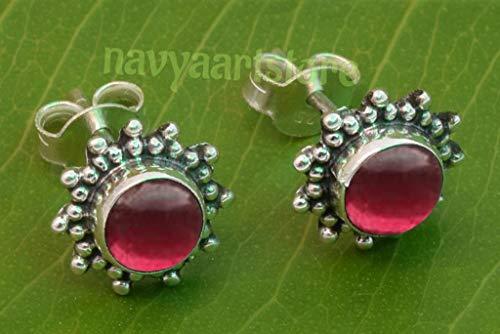 925 Sterling Silver Garnet Stud Post Earrings - Garnet Stone Gemstone Stud Earring Gift Jewellery For Girl women