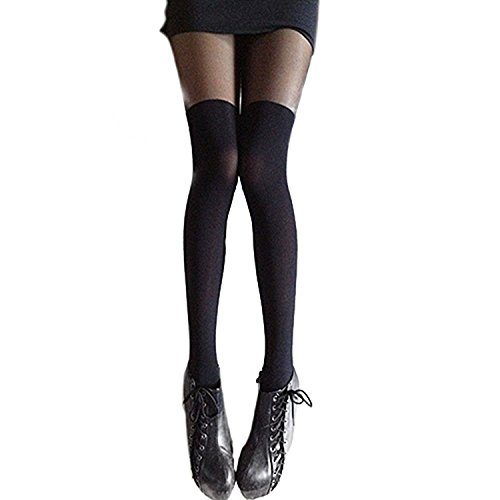 BUYEONLINE Sexy Women'S Black Mixed Colors Gipsy Mock Ribbed Over The Knee Tights Thigh High Pantyhose