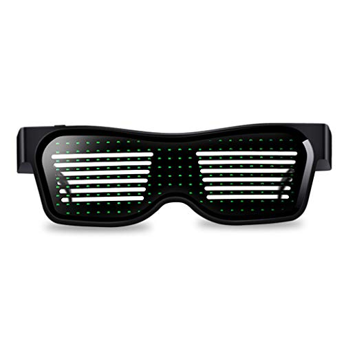 Bluetooth LED Glasses, DIY Light up Eyeglasses Glowing Flashing for Halloween, Christmas, Birthday Party, Nightclub, Bars, Rave, Festival (Green, 1 PC)]()