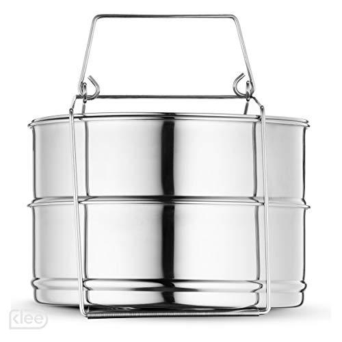 Klee Utensils 3-Piece Stackable Stainless Steel Pressure Cooker Insert Pans with Lid (Pressure Cooker Steamer Insert)
