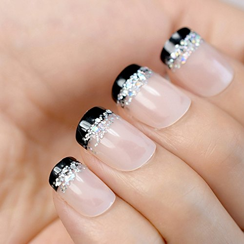 Amazon.com : Nude Pink French False Nails Tips Black French With Laser Holo Glitter Full Cover Fake Nail Manicure ABS Artificial UV Nails Z825 : Beauty