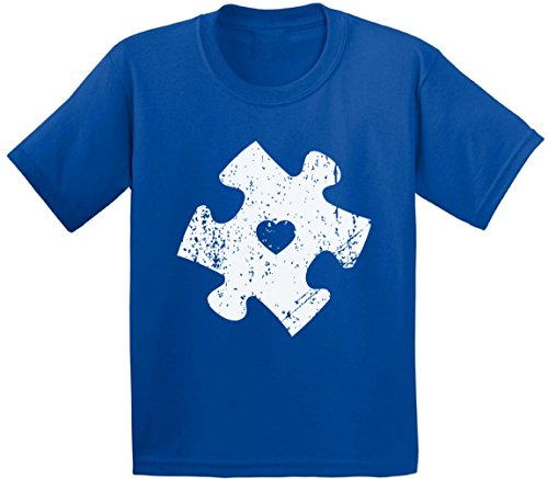 Awkward Styles Youth Puzzle Shield Hero Graphic Youth Kids T Shirt Tops for Autism Awareness Blue M by Awkward Styles