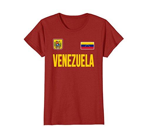 Venezuela Soccer Jersey (Womens Venezuela T-shirt Venezuelan Soccer Jersey Style Medium Cranberry)