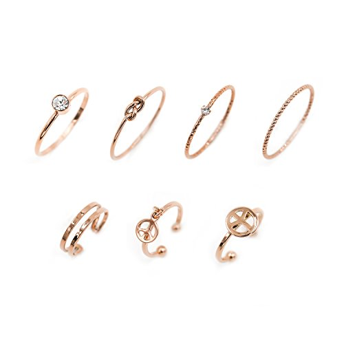 LANE WOODS Multiple Rings Set Stackable Midi Knuckle Anti-tarnished Real Gold Plated Minimalist Simple Thin Cute Dainty Rings Pack for Women Ladies Girls (Rose Gold)