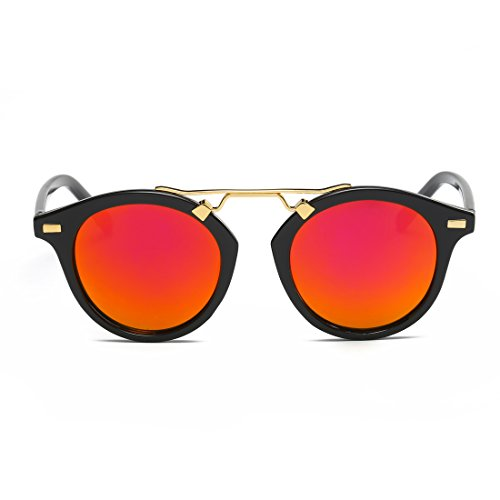 LOMEDO Oval Lenses Vintage with Horn Rimmed Mirrored W/ Flash Womens - Colourful Sunglasses Wayfarer