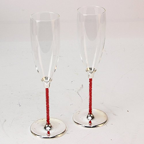 (Personalised Ruby Silver Plated Champagne Flutes Glasses with Crystal Stems 40th Anniversary)