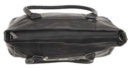 Große Handtasche aus schwarzem, weichem Nappaleder mit abnehmbarem Schulterriemen