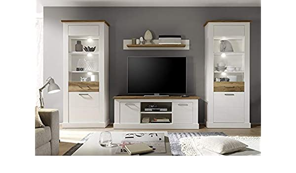 NOUVOMEUBLE Conjunto Mueble TV Negra Blanco y Nogal Satinado Wood ...