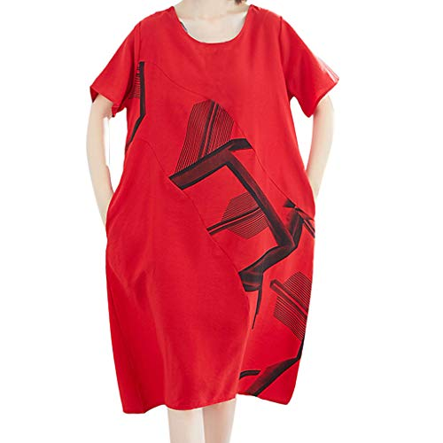 (Vintage Casual Cute Women Short Sleeve Loose Summer Cotton Linen Baggy Dress Red)