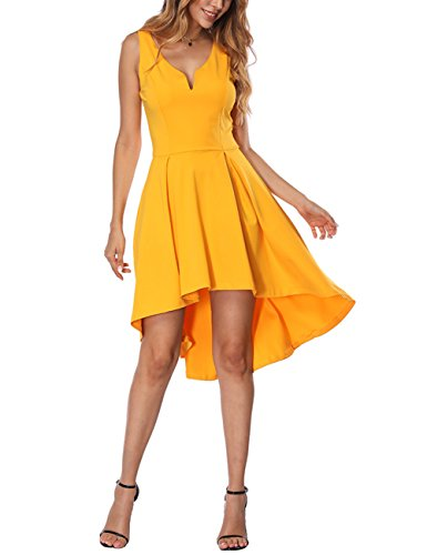 Yellow Low YOUCOO Dress Hem High Skater Dress Cocktail Club Sleeveless Women 1RvxOIwRn