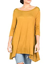 Lovein Women's 3/4 Sleeve Round Neck Relaxed Drape Tunic T Shirt Top S~3XL