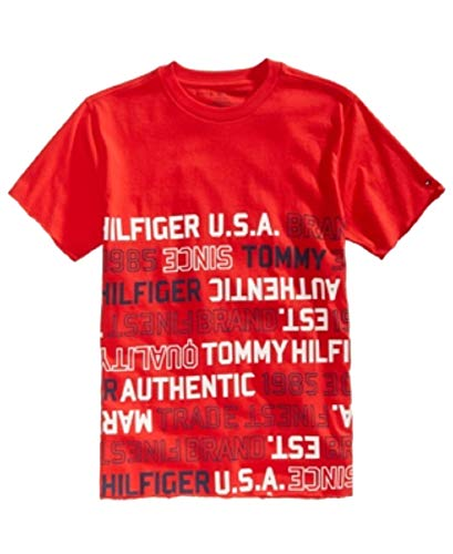Tommy Hilfiger Little Boys Graphic-Print Cotton T-Shirt (Racing Red, 5)