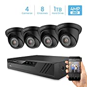 Amcrest UltraHD 4-Megapixel 8CH Video Security System with Four 4.0MP Outdoor IP67 Dome Cameras, 98ft Night Vision, 100° Viewing Angle, Pre-Installed 1TB Hard Drive, (AMDV40M8-4D-B)