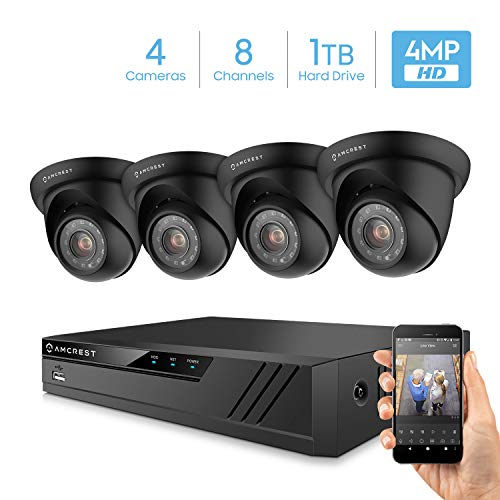 Amcrest Ultrahd 4 Megapixel 8ch Video Security System With Four 4 0mp Outdoor Ip67 Dome Cameras 98ft Night Vision 100 Viewing Angle Pre Installed 1tb Hard Drive Amdv40m8 4d B