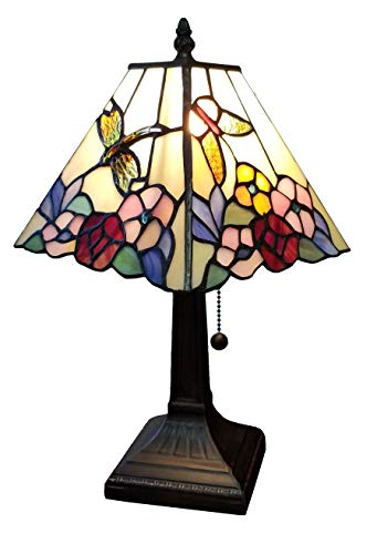 Amora Lighting Tiffany Style Mini Accent Lamp Mission 15 Tall Stained Glass Red Floral Flower Hummingbird Butterfly Vintage Antique Light D cor Living Bedroom Handmade Gift AM248TL08B, Multicolor