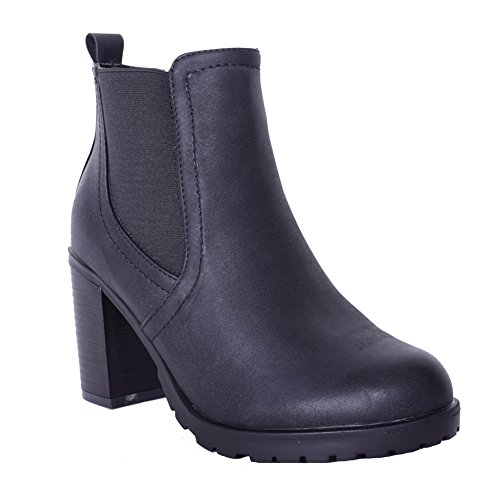 Womens Ladies Elasticated High Heel Ankle Boots Casual Everyday Comfort AW17 Black Shoes Size Black Faux Leather vYh16FmZ1L