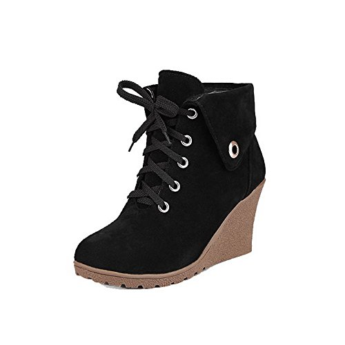 High Heels Top Black Low Lace Women's Up Frosted Round WeenFashion Boots Toe Closed wEq0Y