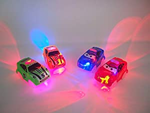 Seecurit Light Up Toy Car | Glow in The Dark Racing Track Cars with 3 LED Lights Compatible with Most Tracks Including Magic Tracks for Boys and Girls