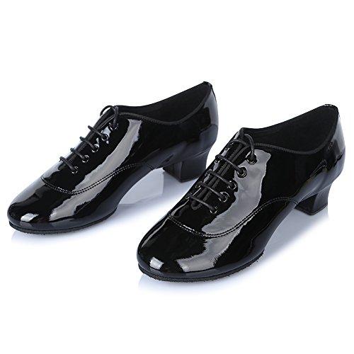 Roymall Mens Scarpe Da Ballo Latino Professionale Ballroom Jazz Tango Waltz Performance Scarpe Nero Brillante