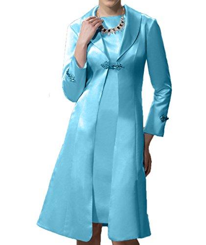 Partykleider Charmant Blau Langarm Etuikleider Satin Ballkleider Abendkleider Damen Festlichkleider Brautmutterkleider wwYq74a