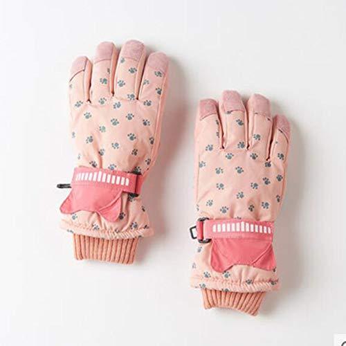 Fivefinger Light - FH Children's Gloves Winter Warm Bike Thickening Children's Gloves Winter Five Fingers (Color : Light Pink)