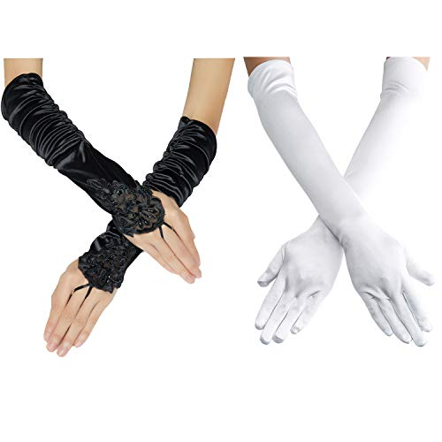 "1920s Opera Satin Long Gloves 19.5"" Elbow Length,12BL (OneSize, 2PC-B-Black+ A White)"
