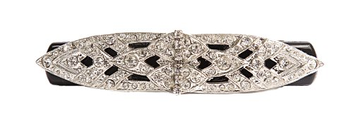 Victorian Celluloid - Caravan Hand Decorated Victorian Design on French Barrette Using Swarovski Crystal Stones, Black.65 Ounce