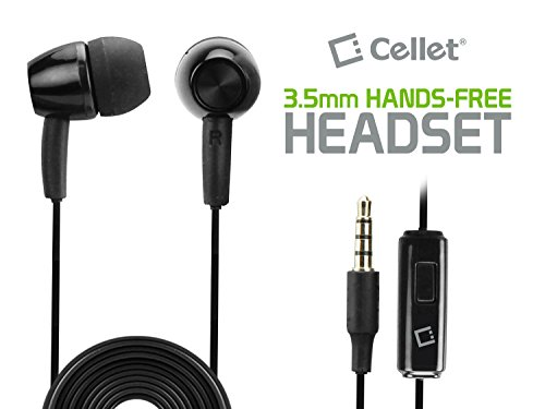 Cellet 3.5mm Stereo Earpiece with On/Off (Multi-Function Button) Switch - Black