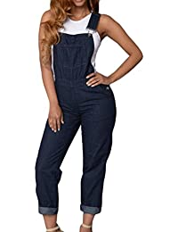 Womens Slim Fit Adjustable Straps Denim Bib Romper Jumpsuit Overalls